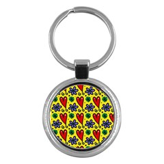 Seamless Tile Repeat Pattern Key Chains (round)