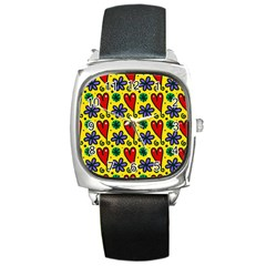 Seamless Tile Repeat Pattern Square Metal Watch