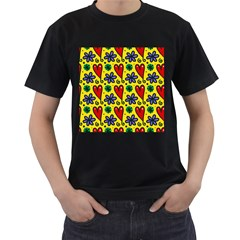 Seamless Tile Repeat Pattern Men s T Shirt (black) (two Sided)