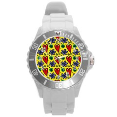Seamless Tile Repeat Pattern Round Plastic Sport Watch (l)