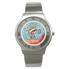 Illustration Characters Comics Draw Stainless Steel Watch