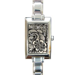 Background Abstract Beige Black Rectangle Italian Charm Watch