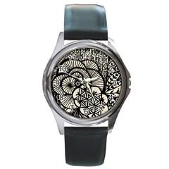 Background Abstract Beige Black Round Metal Watch