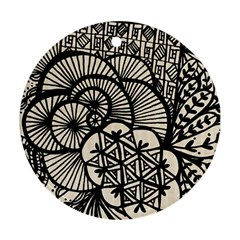 Background Abstract Beige Black Ornament (round)