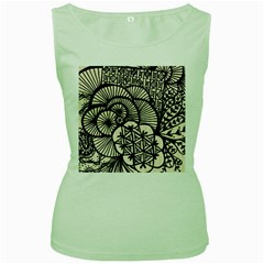 Background Abstract Beige Black Women s Green Tank Top