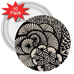 Background Abstract Beige Black 3  Buttons (10 Pack)