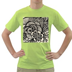 Background Abstract Beige Black Green T Shirt