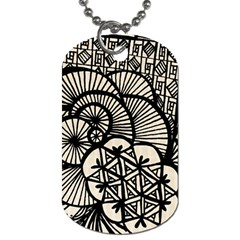 Background Abstract Beige Black Dog Tag (one Side)
