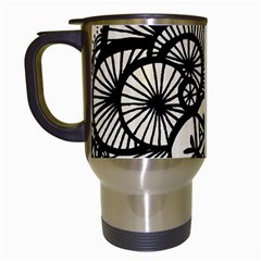 Background Abstract Beige Black Travel Mugs (white)