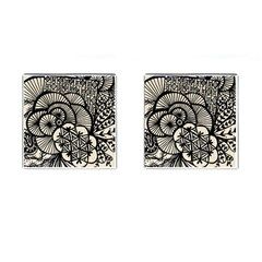 Background Abstract Beige Black Cufflinks (square)