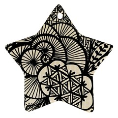 Background Abstract Beige Black Star Ornament (two Sides)