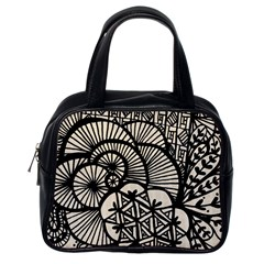 Background Abstract Beige Black Classic Handbags (one Side)