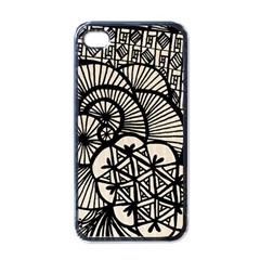 Background Abstract Beige Black Apple Iphone 4 Case (black)