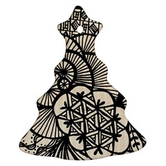 Background Abstract Beige Black Christmas Tree Ornament (two Sides)