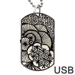 Background Abstract Beige Black Dog Tag Usb Flash (one Side)