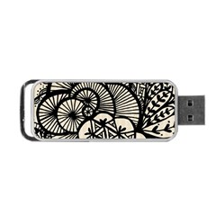 Background Abstract Beige Black Portable Usb Flash (one Side)