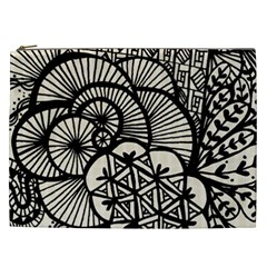 Background Abstract Beige Black Cosmetic Bag (xxl)