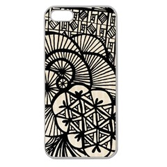 Background Abstract Beige Black Apple Seamless Iphone 5 Case (clear)