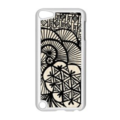 Background Abstract Beige Black Apple Ipod Touch 5 Case (white)