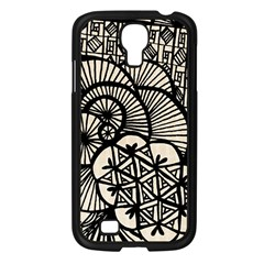 Background Abstract Beige Black Samsung Galaxy S4 I9500/ I9505 Case (black)