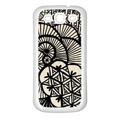 Background Abstract Beige Black Samsung Galaxy S3 Back Case (white)