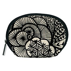 Background Abstract Beige Black Accessory Pouches (medium)