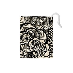 Background Abstract Beige Black Drawstring Pouches (small)
