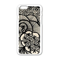 Background Abstract Beige Black Apple Iphone 6/6s White Enamel Case