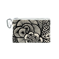 Background Abstract Beige Black Canvas Cosmetic Bag (s)