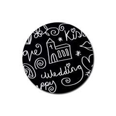 Wedding Chalkboard Icons Set Rubber Coaster (round)