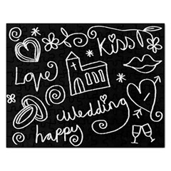 Wedding Chalkboard Icons Set Rectangular Jigsaw Puzzl
