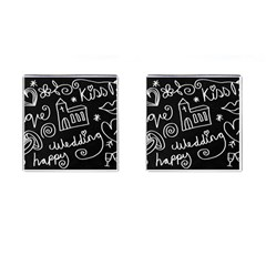 Wedding Chalkboard Icons Set Cufflinks (square)