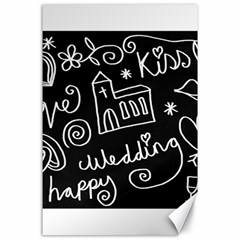Wedding Chalkboard Icons Set Canvas 24  X 36