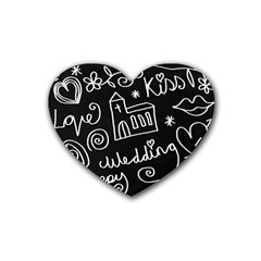Wedding Chalkboard Icons Set Heart Coaster (4 Pack)