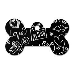 Wedding Chalkboard Icons Set Dog Tag Bone (one Side)