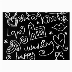 Wedding Chalkboard Icons Set Large Glasses Cloth (2 Side)