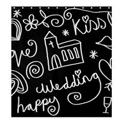 Wedding Chalkboard Icons Set Shower Curtain 66  X 72  (large)