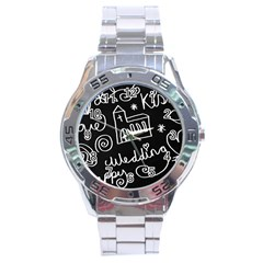 Wedding Chalkboard Icons Set Stainless Steel Analogue Watch