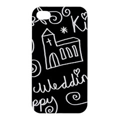 Wedding Chalkboard Icons Set Apple Iphone 4/4s Hardshell Case