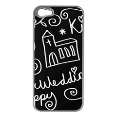 Wedding Chalkboard Icons Set Apple Iphone 5 Case (silver)