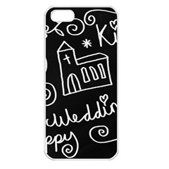 Wedding Chalkboard Icons Set Apple Iphone 5 Seamless Case (white)