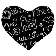 Wedding Chalkboard Icons Set Large 19  Premium Heart Shape Cushions