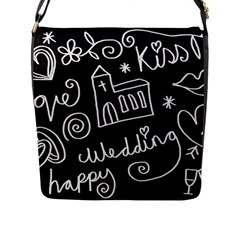Wedding Chalkboard Icons Set Flap Messenger Bag (l)