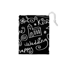 Wedding Chalkboard Icons Set Drawstring Pouches (small)
