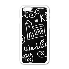 Wedding Chalkboard Icons Set Apple Iphone 6/6s White Enamel Case