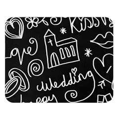 Wedding Chalkboard Icons Set Double Sided Flano Blanket (large)