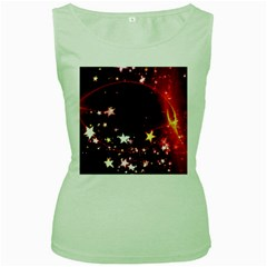 Circle Lines Wave Star Abstract Women s Green Tank Top