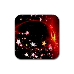 Circle Lines Wave Star Abstract Rubber Coaster (square)