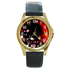 Circle Lines Wave Star Abstract Round Gold Metal Watch
