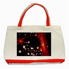 Circle Lines Wave Star Abstract Classic Tote Bag (red)